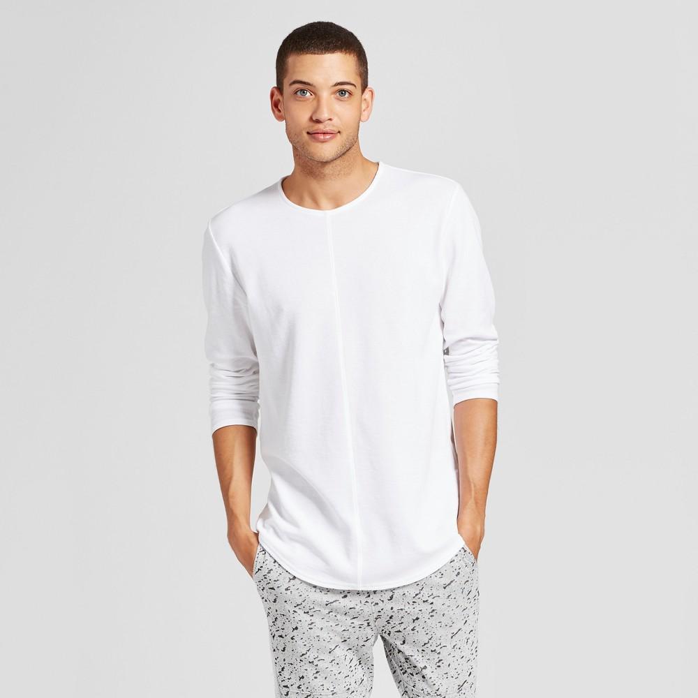 Mens Long Sleeve Seamed Curved Hem T-Shirt - Jackson White XL