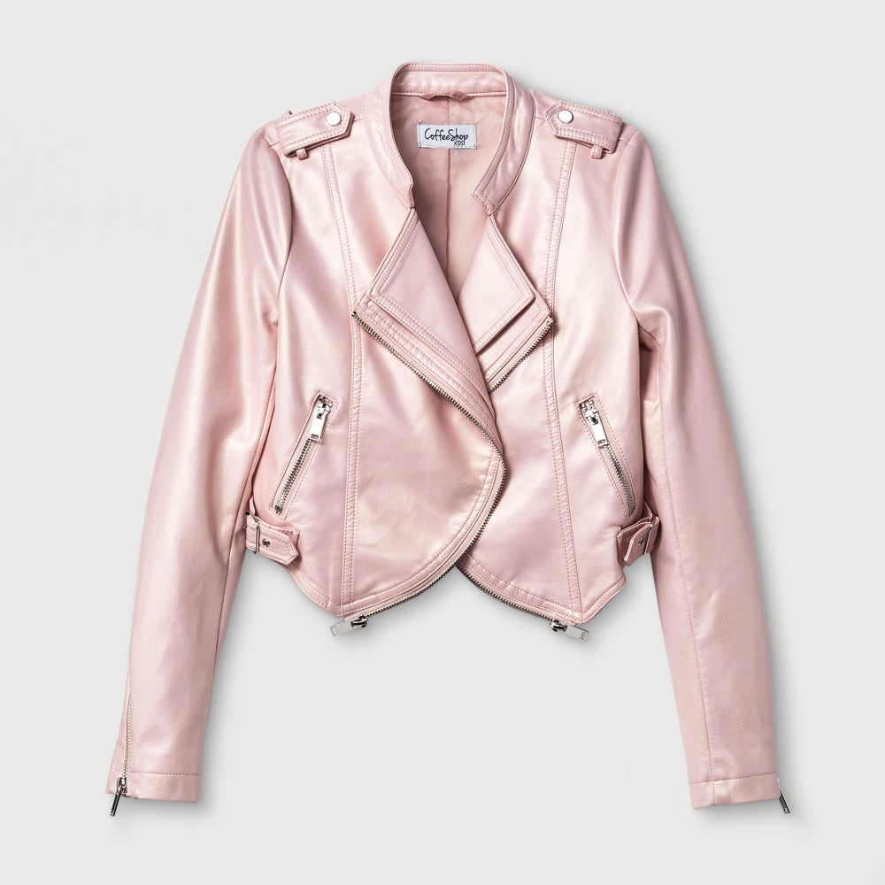 Girls CoffeeShop Kids Pearlized Faux Leather Open Front Jacket - Pink Haze XL (14-16), Size: XL(14-16)