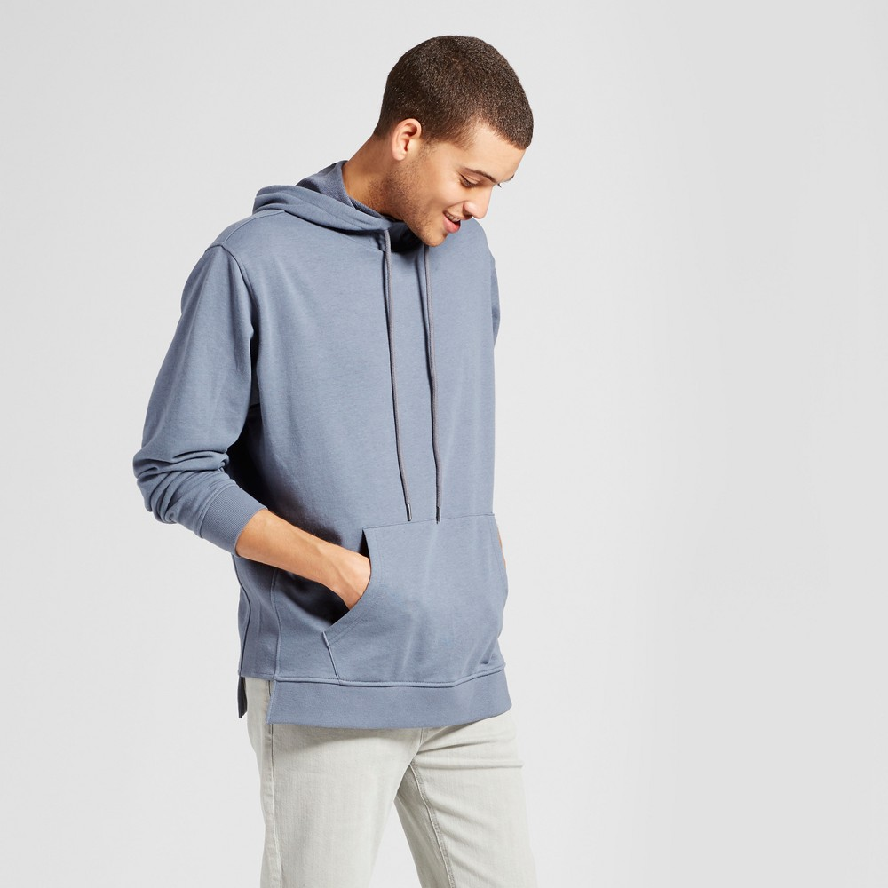 Mens Long Sleeve Rib Contrast Hooded Sweatshirt - Jackson Slate S, Gray
