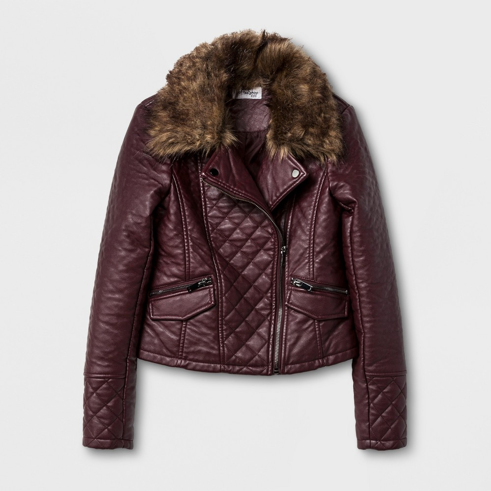 Girls CoffeeShop Kids Faux Lamb Skin Jacket with Detachable Faux Fur - Cabernet M(7-8), Size: M (7-8), Purple