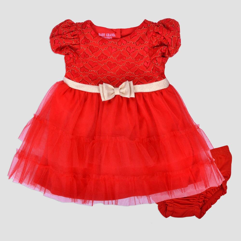 Baby Grand Signature Baby Girls Ruffle Dress with Rhinestone Belt - Red 24M, Size: 24 M