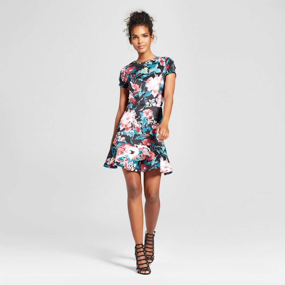 Womens Floral A-Line Dress - Necessary Objects Black S
