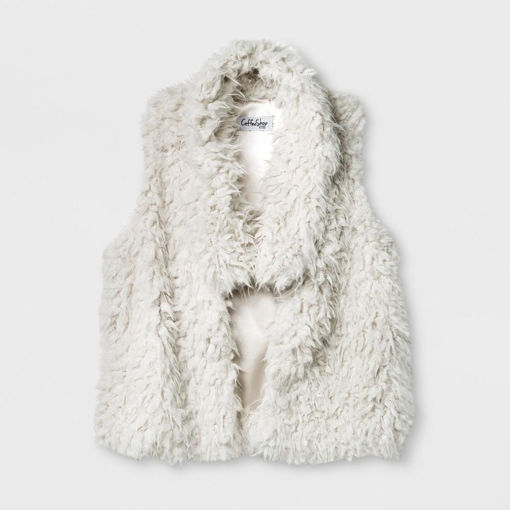Girls CoffeeShop Kids Feather Whubby Vest - Light Off-White (Beige) XL (14-16), Size: XL(14-16)