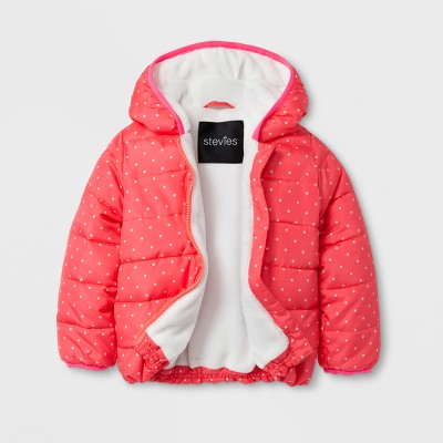 Stevies Baby Girls' Puffer Jacket - Coral 24 Months
