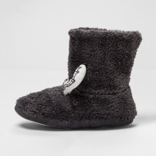 Women's Reindeer Fair Isle Boot Slippers - Wondershop™ Gray : Target
