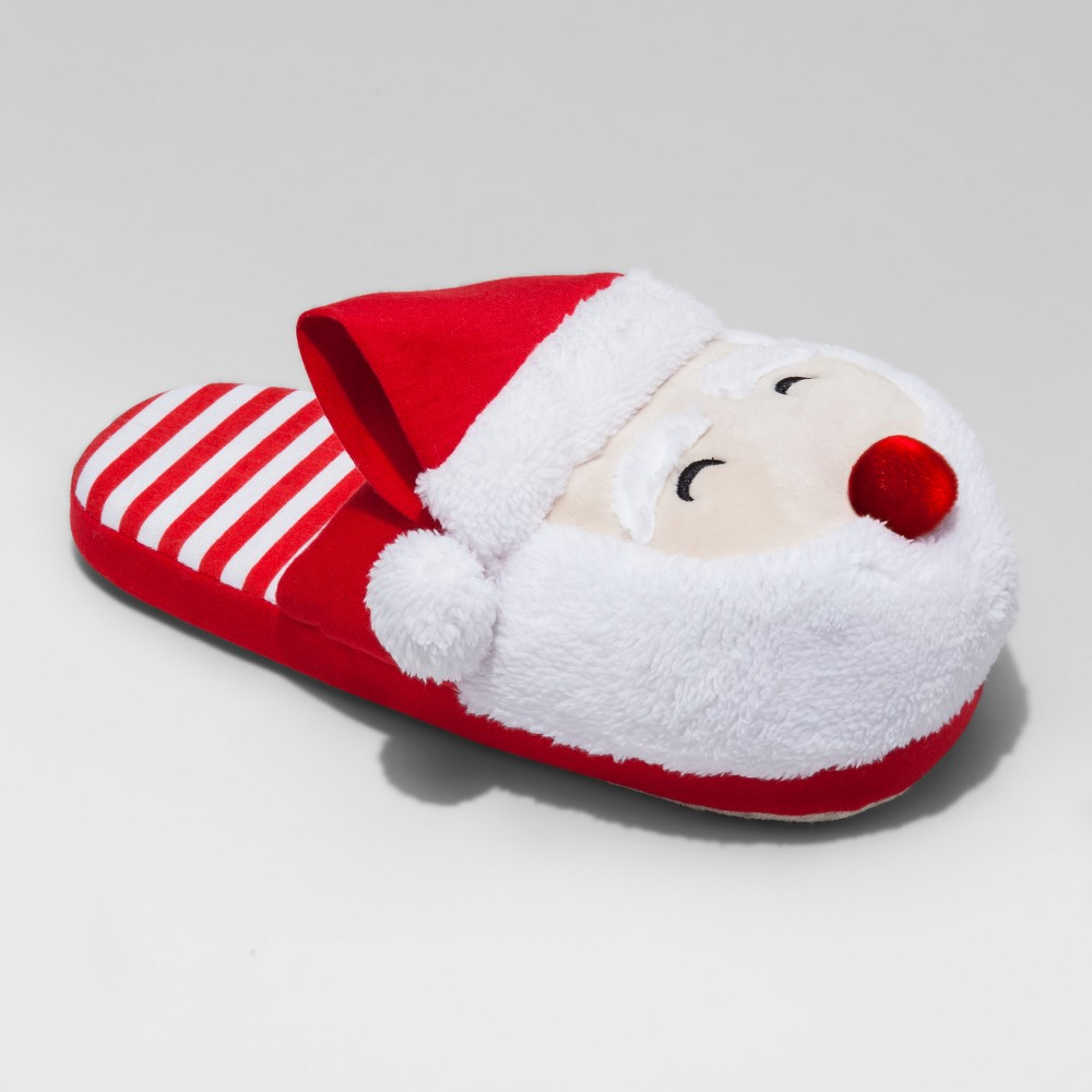 Mens Santa Scuff With Light Up Nose - Red L(11-12), Size: L (11-12)