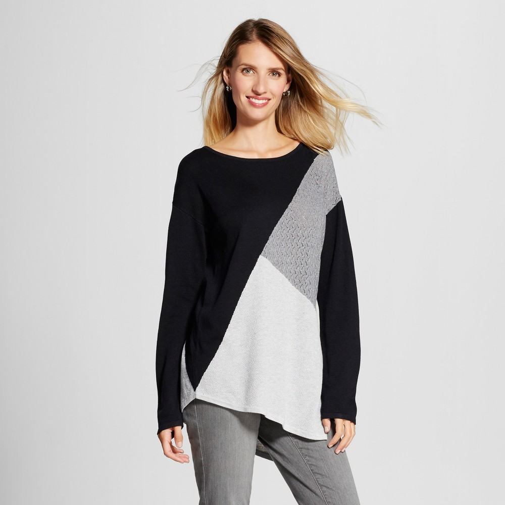 Womens Colorblocked Asymmetrical Sweater Tunic - U-Knit Black/Gray XL, Multicolored
