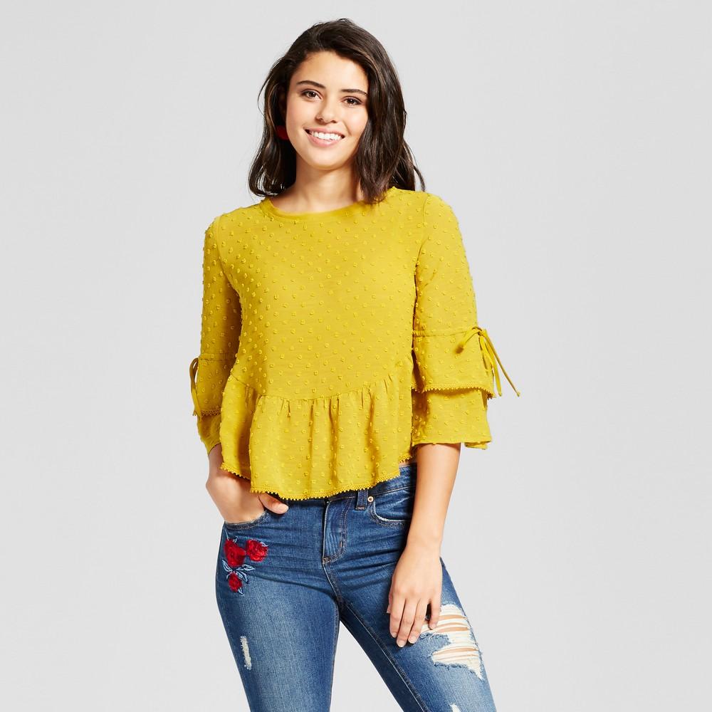 Womens Swiss Dot Double-Ruffle Top - Xhilaration (Juniors) Citrus L, Yellow