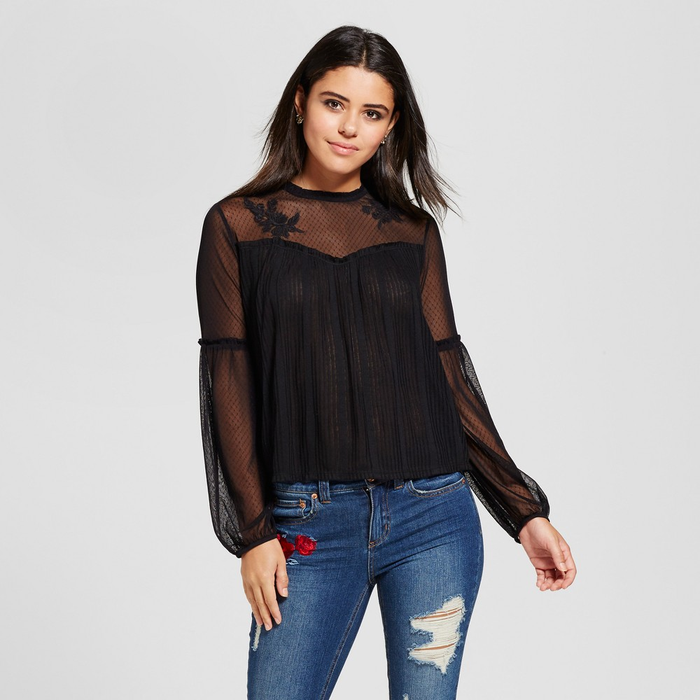 Womens Mesh-Top Long Sleeve Knit - Xhilaration (Juniors) Black XS