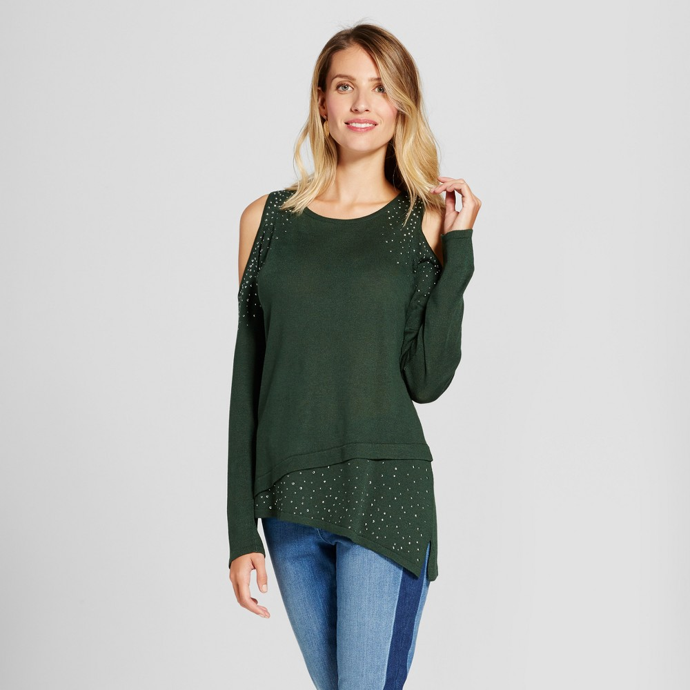 Womens Studded Asymmetrical Hem Cold Shoulder Pullover - U-Knit Green L