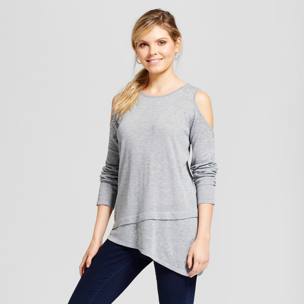 Image of Women's Studded Asymmetrical Hem Cold Shoulder Pullover - U-Knit Gray S