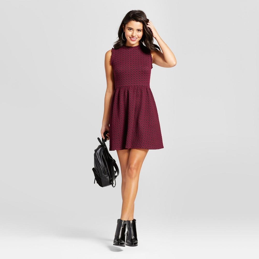 Womens Knit Jacquard Fit & Flare Dress - Xhilaration (Juniors) Eggplant S