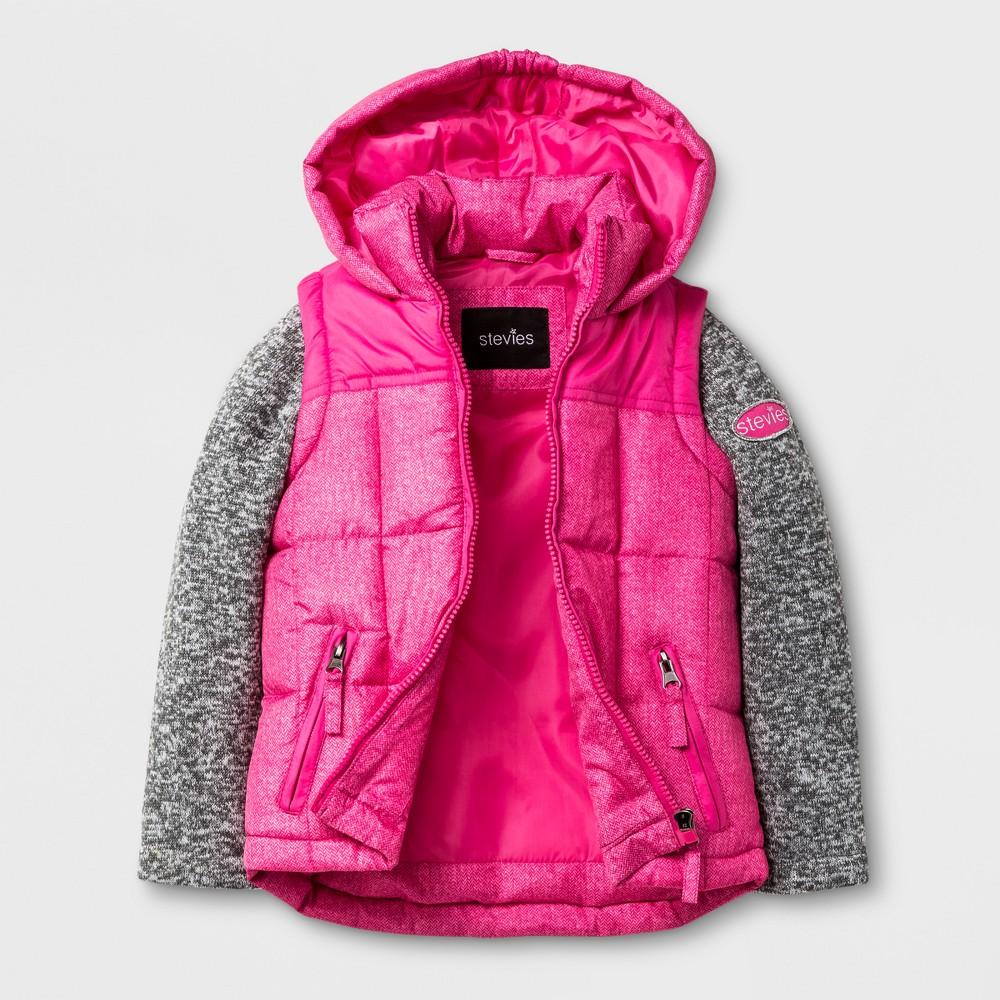 Stevies Toddler Girls Puffer Jacket - Fuchsia 3T, Pink