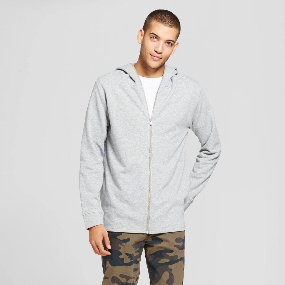 Mens Extended Full Zip Hoodie Sweatshirt - Jackson Heather Gray XL