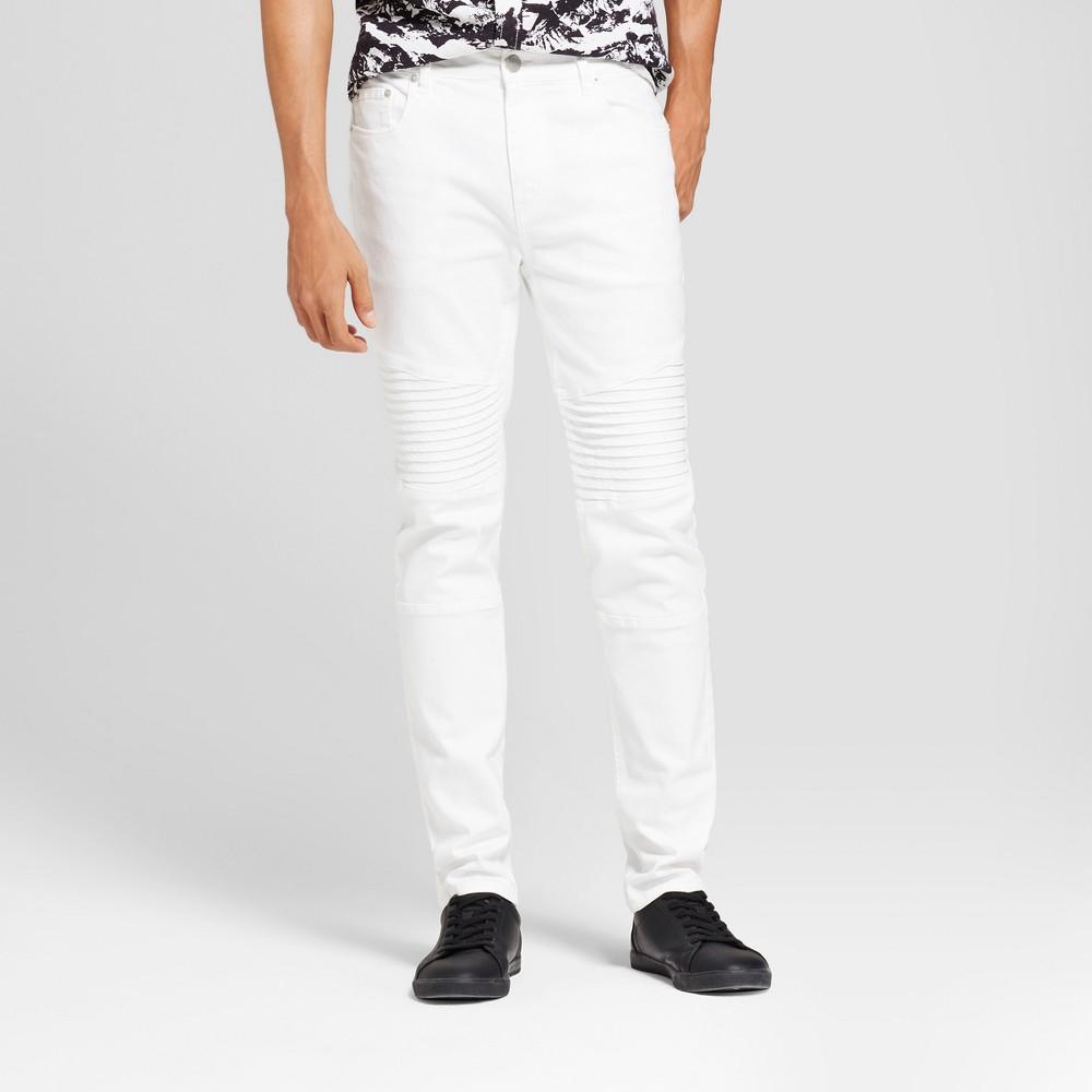 Mens Fashion Moto Denim Skinny Fit Pants - Jackson White 30