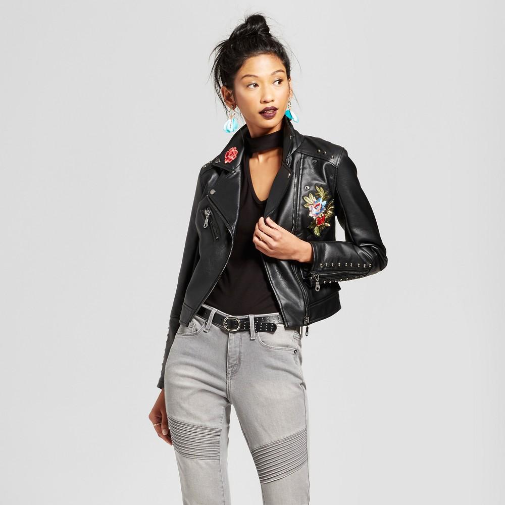 Women's Embroidered Moto Jacket - Xhilaration (Juniors') Black Xxl