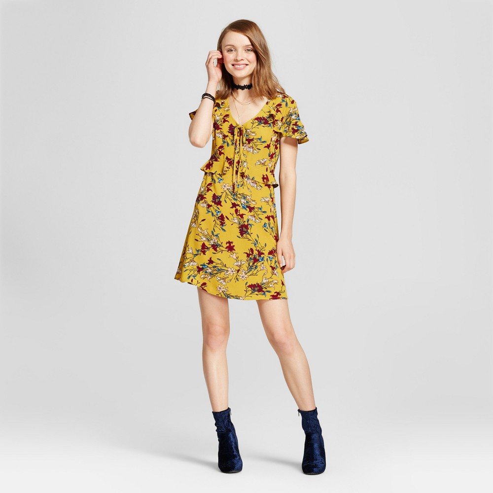 Womens Ruffle Floral Short Sleeve Dress - Xhilaration (Juniors) Citrus S, Yellow