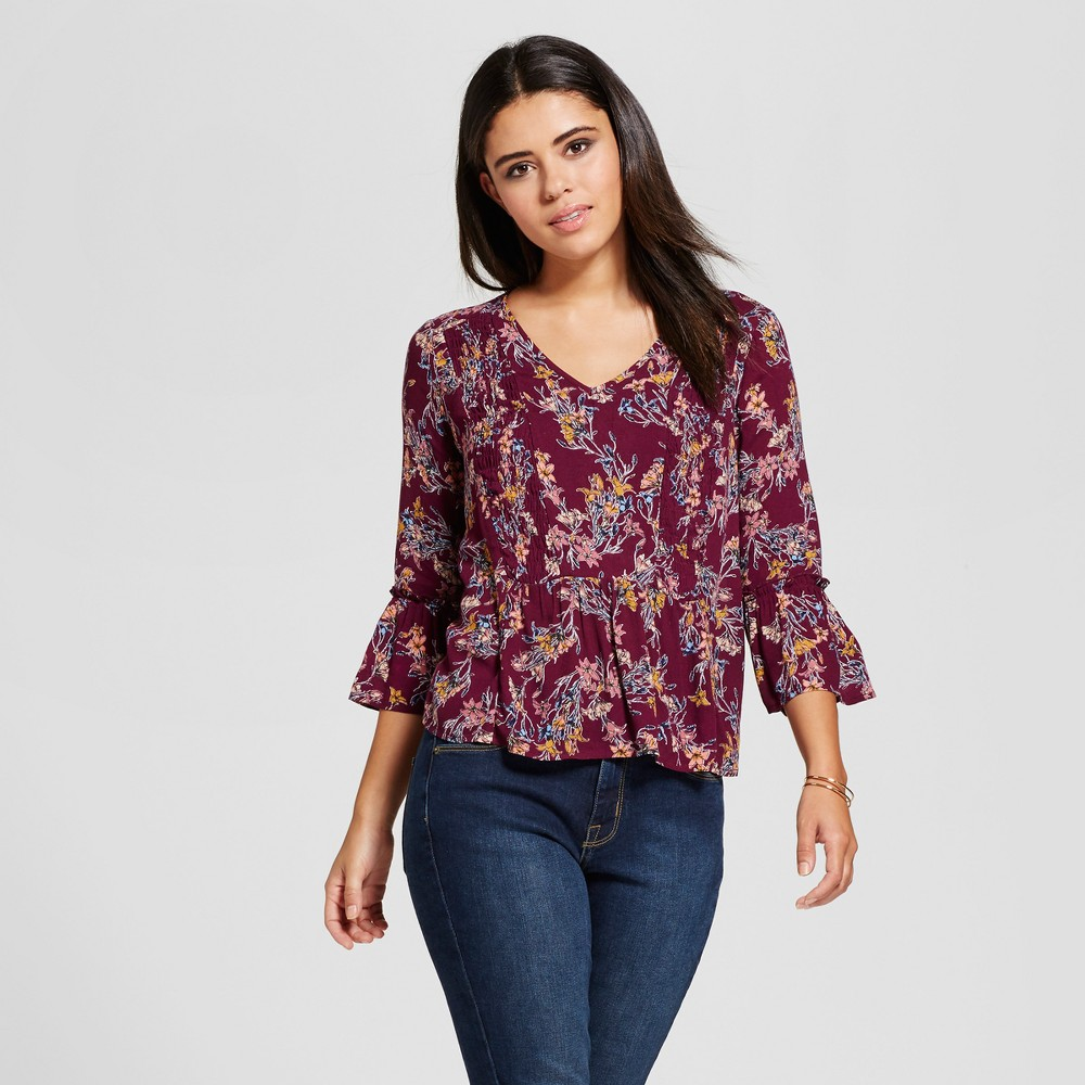 Womens Smocked V-Neck Top - Xhilaration (Juniors) Berry XS, Red