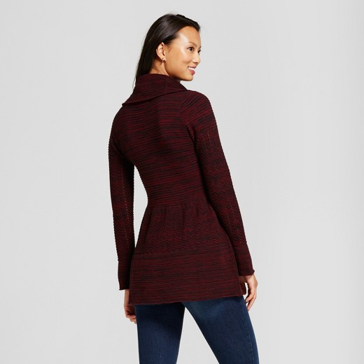 Women's Cowlneck Marled Tunic Sweater - Heather B Black/Red XL ...