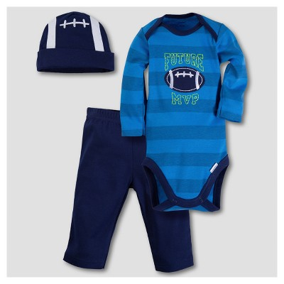 Gerber® Baby Boys' Football 3pc Long Sleeve Onesies® Bodysuit, Pants and Hat Set - Blue 6-9M