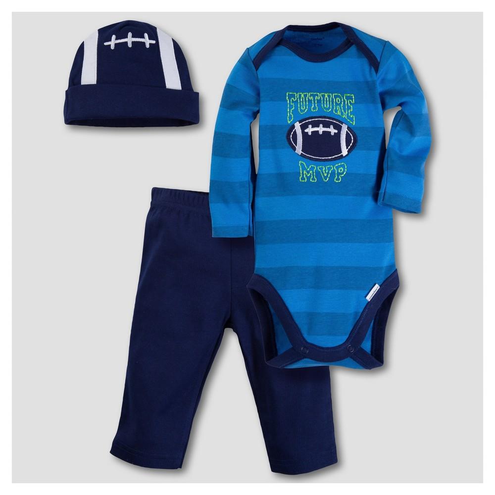 Gerber Baby Boys Football 3pc Long Sleeve Onesies Bodysuit, Pants and Hat Set - Blue 6-9M
