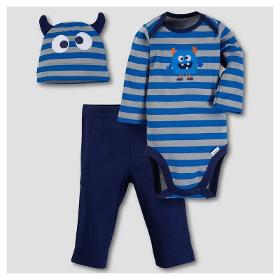 Gerber® Baby Boys' Monster 3pc Long Sleeve Onesies® Bodysuit, Pants and Hat Set - Blue 0-3M