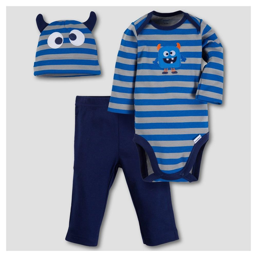 Gerber Baby Boys Monster 3pc Long Sleeve Onesies Bodysuit, Pants and Hat Set - Blue 0-3M