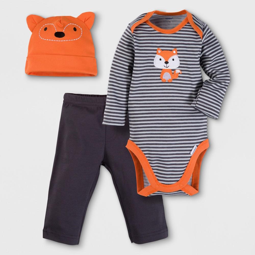 Gerber Baby Boys Fox 3pc Long Sleeve Onesies Bodysuit, Pants and Hat Set - Orange 3-6M