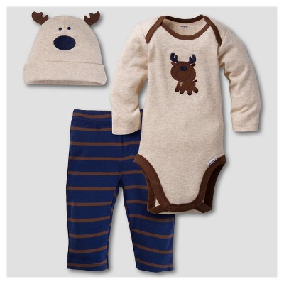 Gerber® Baby Boys' Moose 3pc Long Sleeve Onesies® Bodysuit, Pants and Hat Set - Brown 3-6M