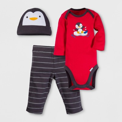 Gerber Baby Boys' Penguin 3pc Long Sleeve Onesies Bodysuit, Pants and Hat Set - Red 0-3M