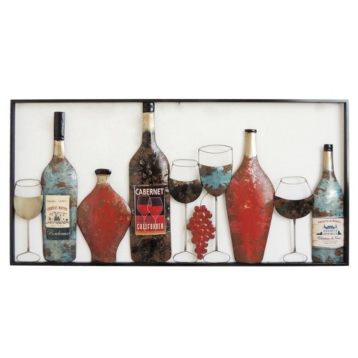 Wine Bottle Wall Decor wall decor- wine bottles & glasses - home source : target