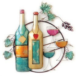 Wall Decor-Wine Bottle & Glass - Home Source