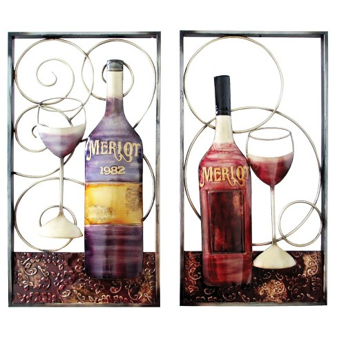 Assortment-Wall Decor-Wine Bottle & Glass - Home Source - image 1 of 1