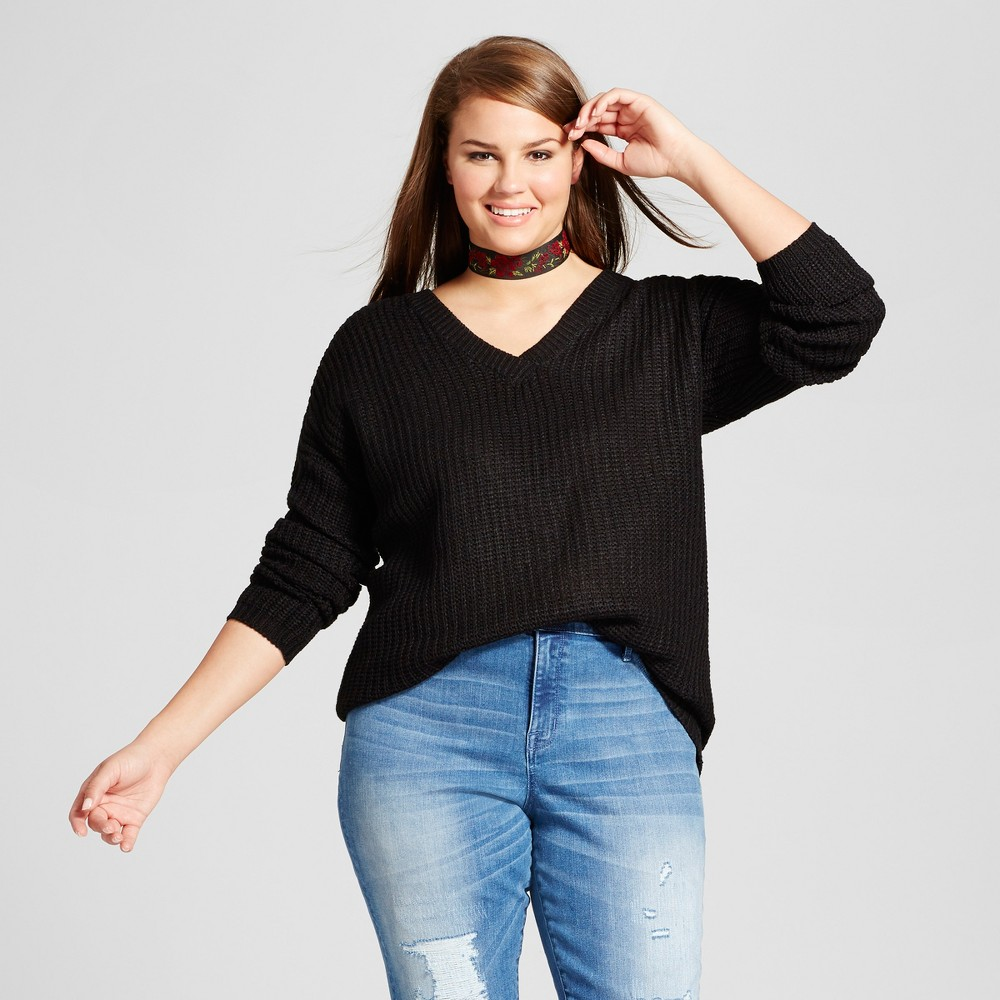 Womens Plus Size Back Detail Sweater - No Comment Black 1X