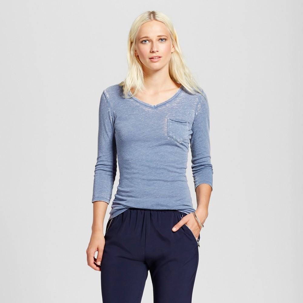 Womens V-Neck 3/4 Sleeve Burnout Pocket Shirt - nitrogen Blue L