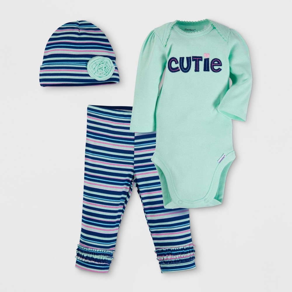 Gerber Baby Girls Cutie 3pc Long Sleeve Onesies Bodysuit, Pants and Hat Set - Green 0-3M