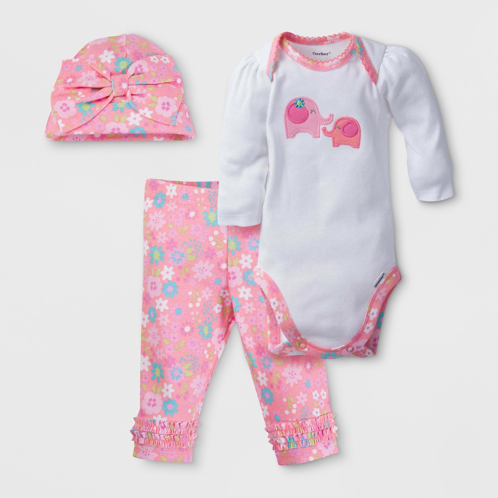Gerber Baby Girls Elephant 3pc Long Sleeve Onesies Bodysuit, Pants and Hat Set - White 3-6M