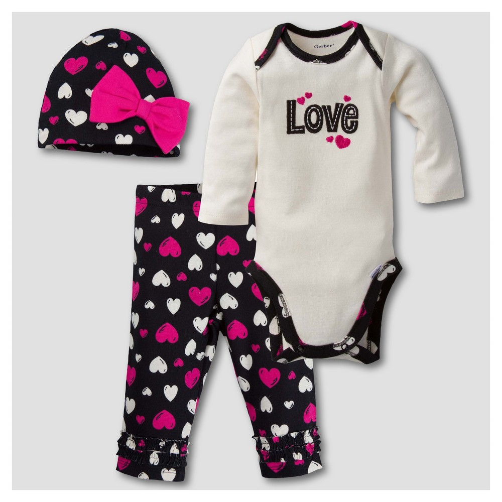 Gerber Baby Girls Love 3pc Long Sleeve Onesies Bodysuit, Pants and Hat Set - White 3-6M
