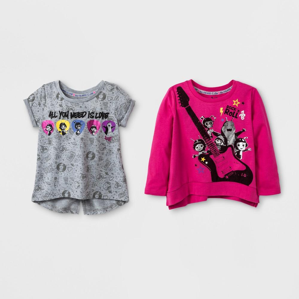 Toddler Girls Beat Bugs 2pk Top Set - Pink 4T