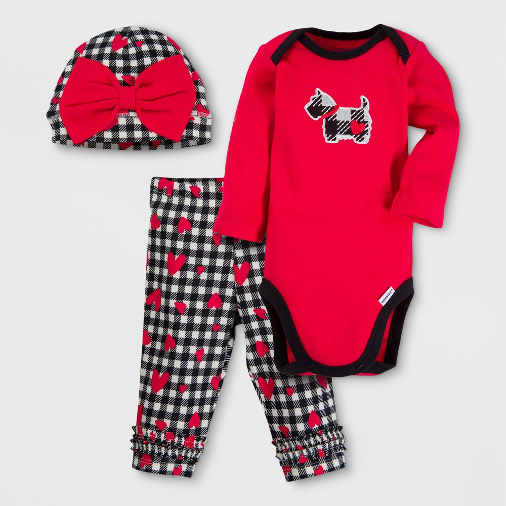 Gerber Baby Girls Dog 3pc Long Sleeve Onesies Bodysuit, Pants and Hat Set - Red 6-9M