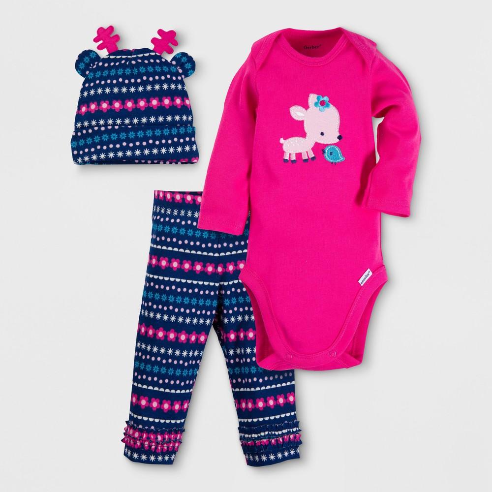 Gerber Baby Girls Deer 3pc Long Sleeve Onesies Bodysuit, Pants and Hat Set - Pink 6-9M