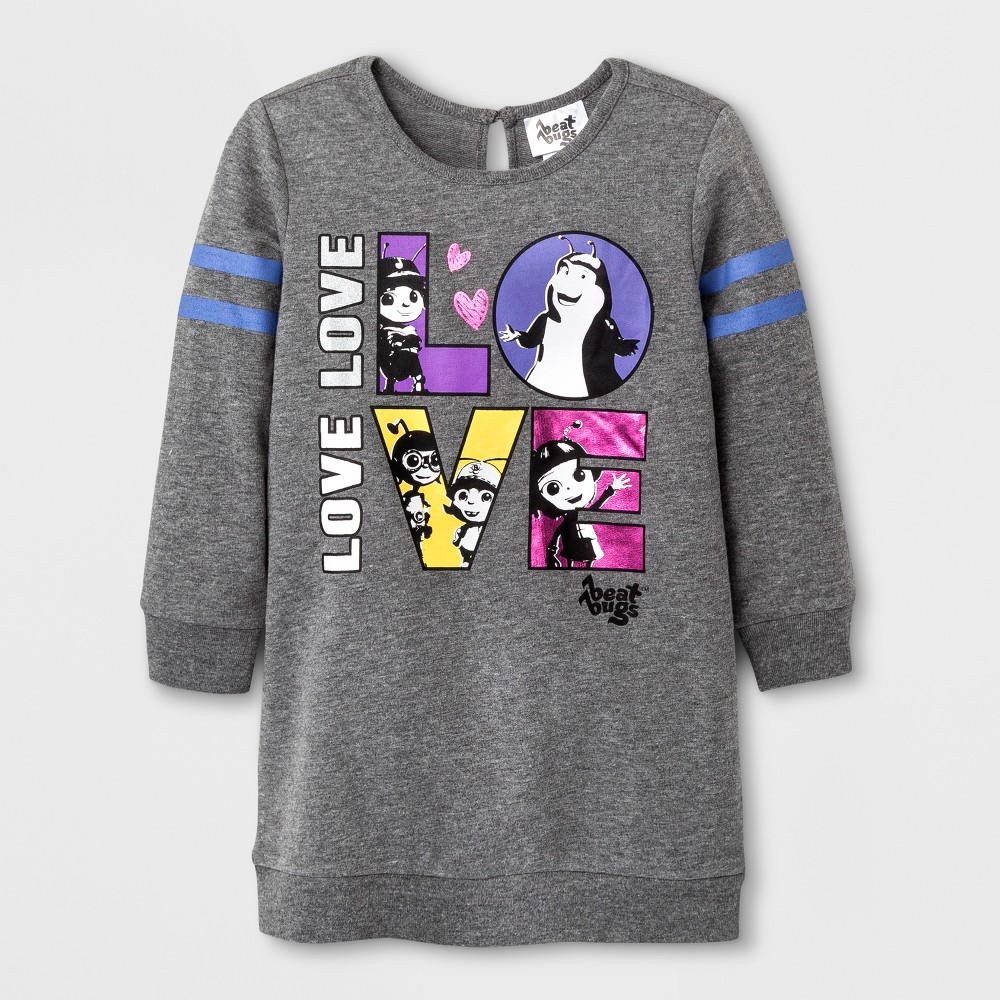 Toddler Girls Beat Bugs Sweatshirt Dress - Gray 4T