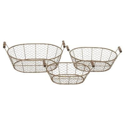 Farmhouse Iron Wire & Wood Tray Set Gold 3pk - Olivia & May