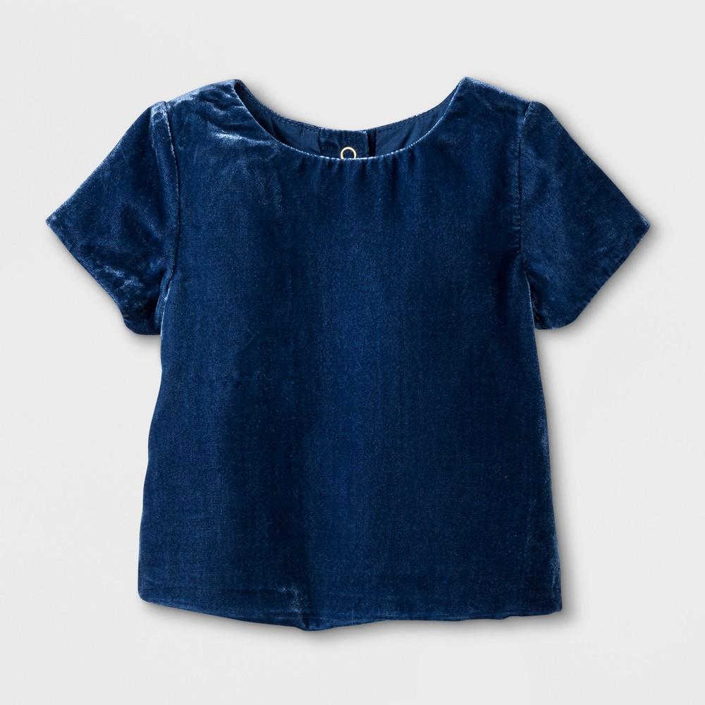 Toddler Girls Velvet Top - Genuine Kids from OshKosh Marine Blue 12M, Size: 12 M