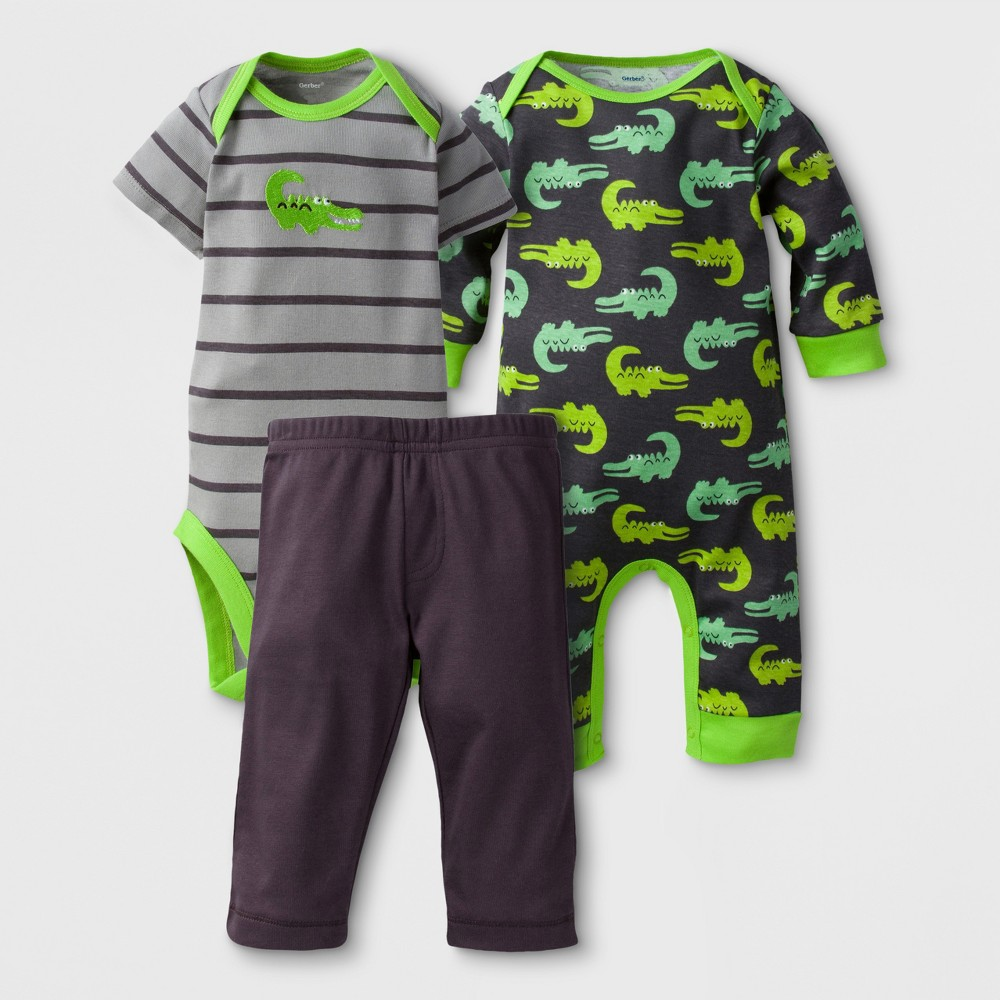 Gerber Baby Boys Alligator 3pc Short Sleeve Coverall, Bodysuit and Pants Set - Gray 0-3M