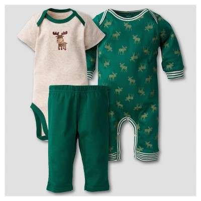 Gerber® Baby Boys' Moose 3pc Short Sleeve Coverall, Onesies® Bodysuit, Pants Set - Brown 6-9M