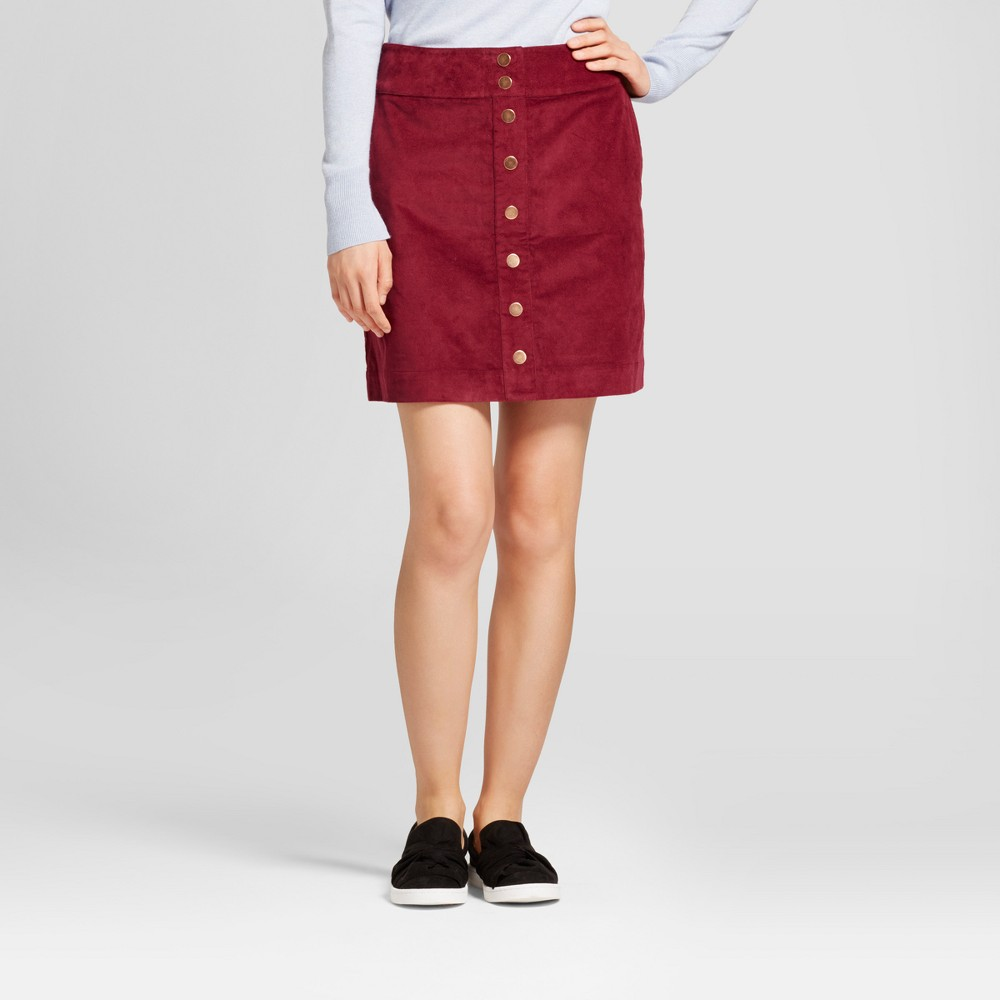 Womens Button Front A-line Skirt - A New Day Maroon 10, Red
