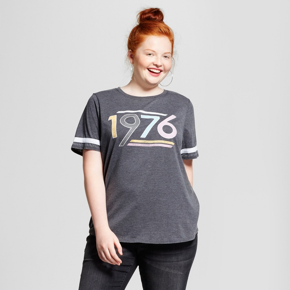 Womens Plus Size 1976 Graphic T-Shirt Charcoal 1X - Grayson Threads (Juniors), Gray