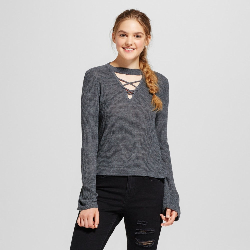 Womens Choker Strappy Bell Sleeve Sweater - Alley & Gabby (Juniors) Gray S