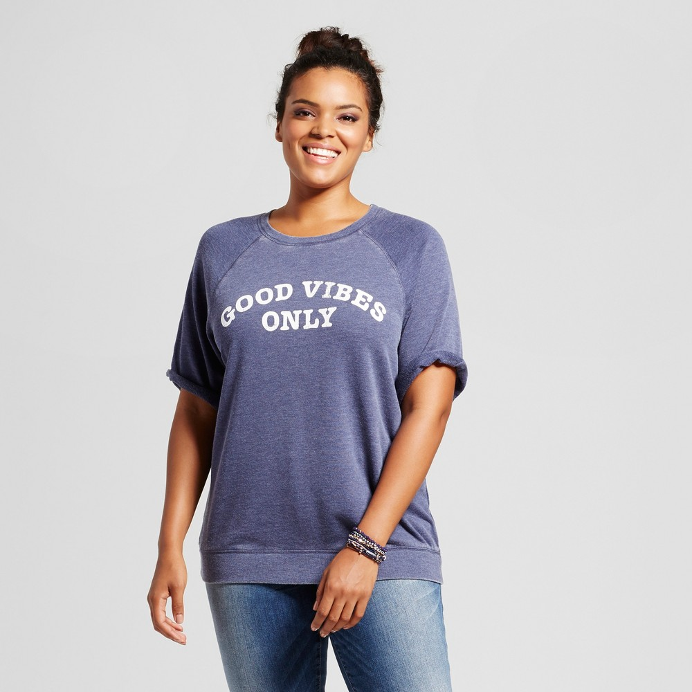 Womens Plus Size Good Vibes Only Graphic Short Sleeve Sweatshirt Blue 1X - Grayson Threads (Juniors)